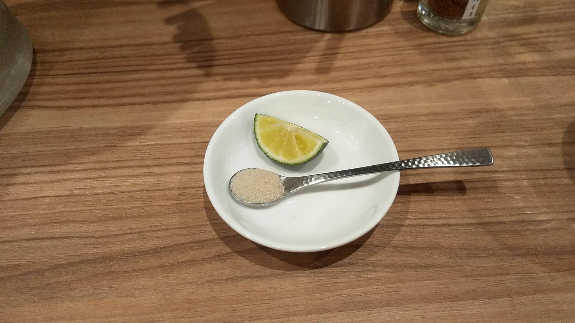 ほん田秋葉原店で最初に提供されたすだちと塩