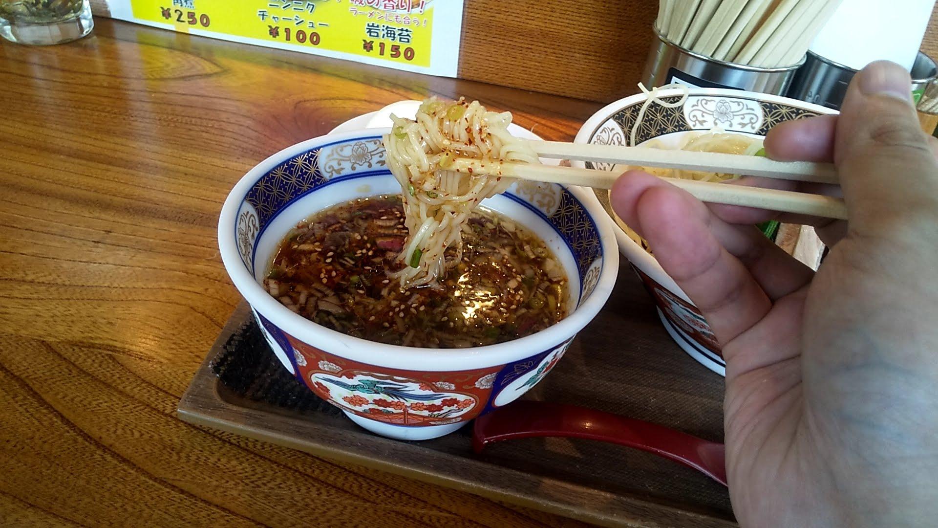 ラーメン凪浅草店の特製煮干しざる中華の麺リフト