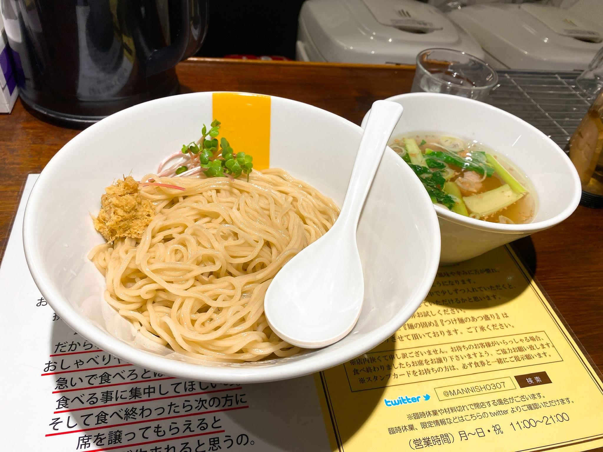 塩生姜らー麺専門店MANNISHの塩生姜つけ麺の写真