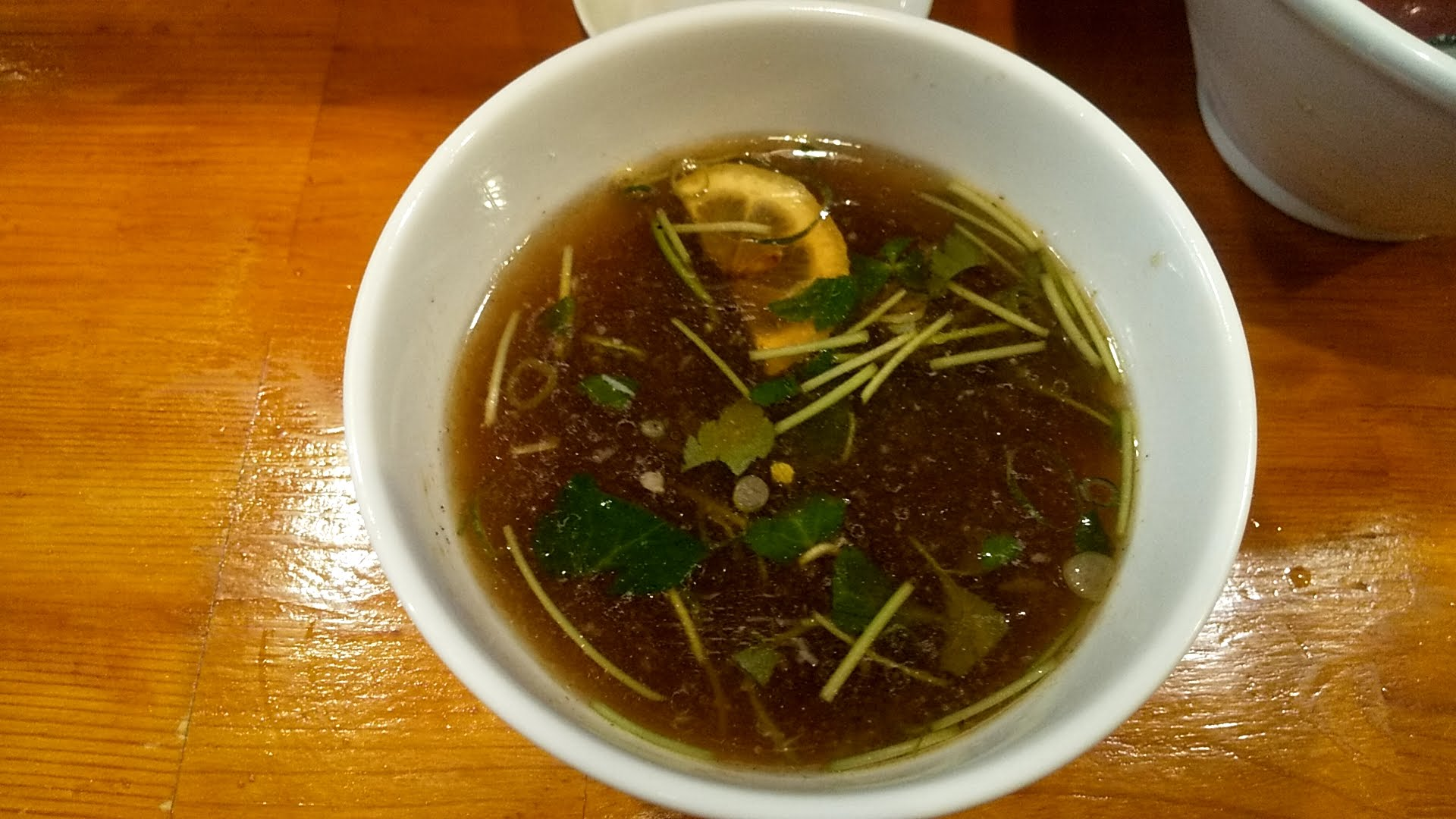 葉月の特製つけ麺のスープ割り写真
