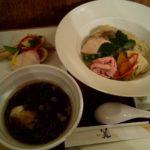 銀座篝の鶏とボルチーニ茸の醤油つけSoba