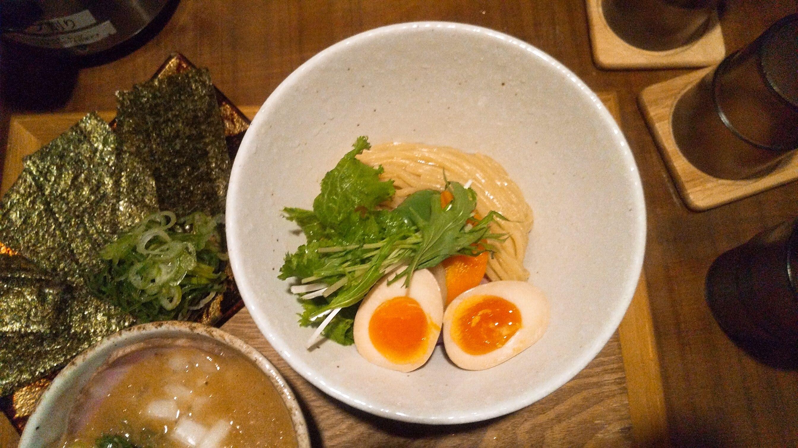竹川の無添加つけ麺の麺皿写真