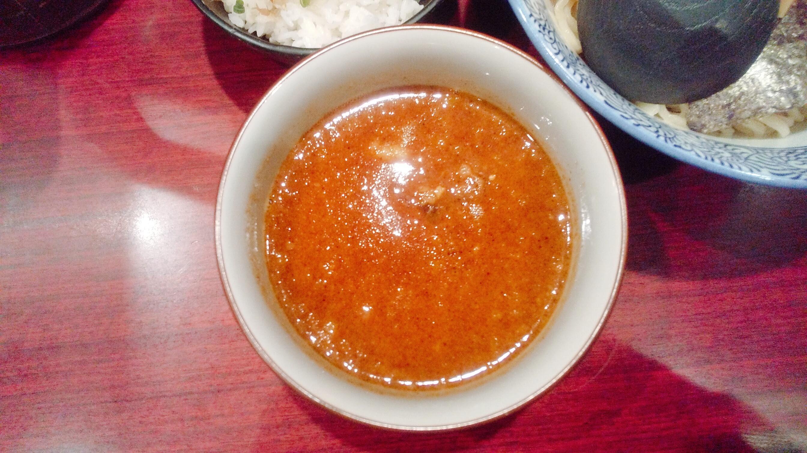 久楽の朝つけ麺セットのつけ汁の写真