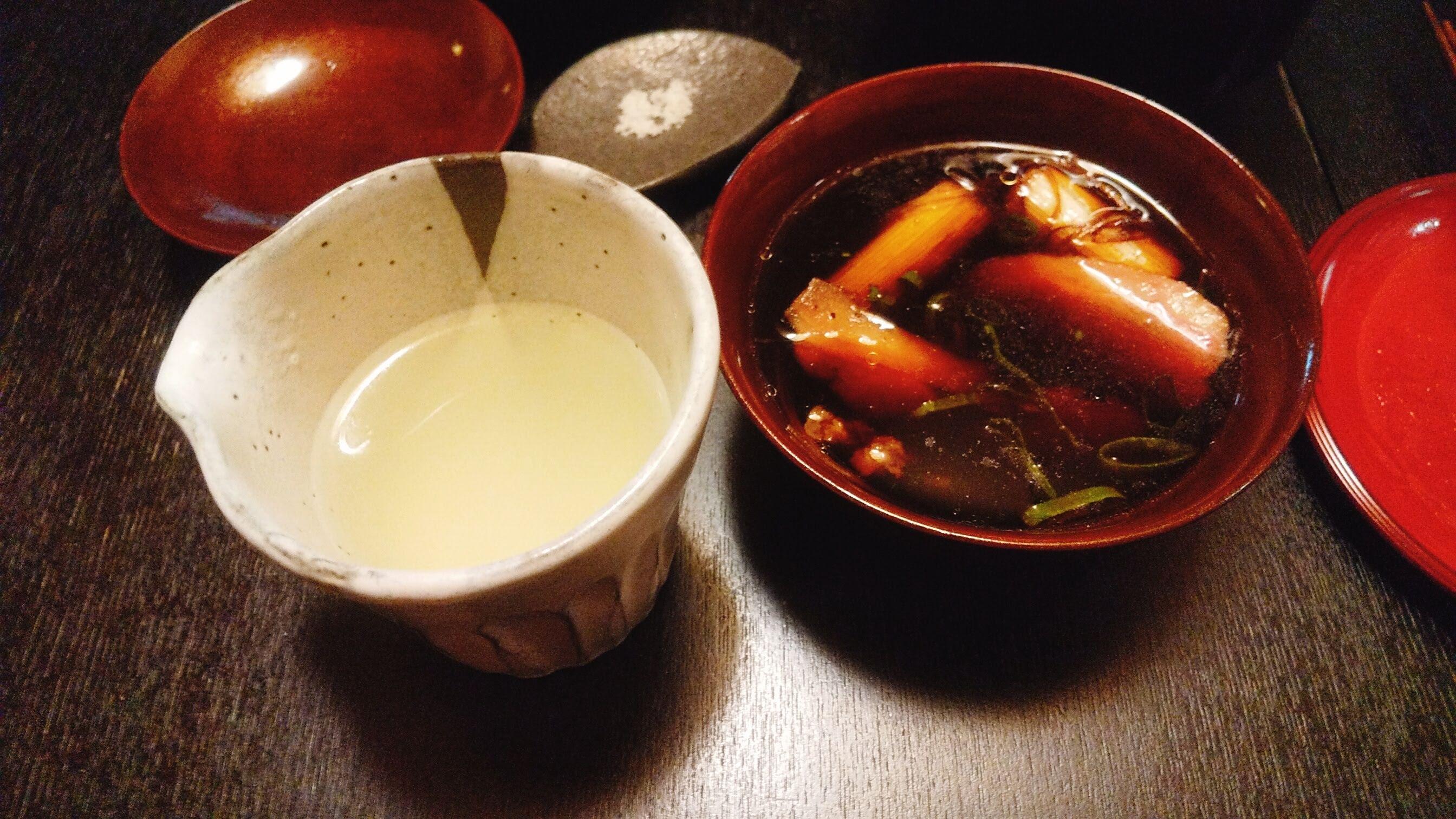 季織亭の手打ち小麦蕎麦のスープ割りの写真