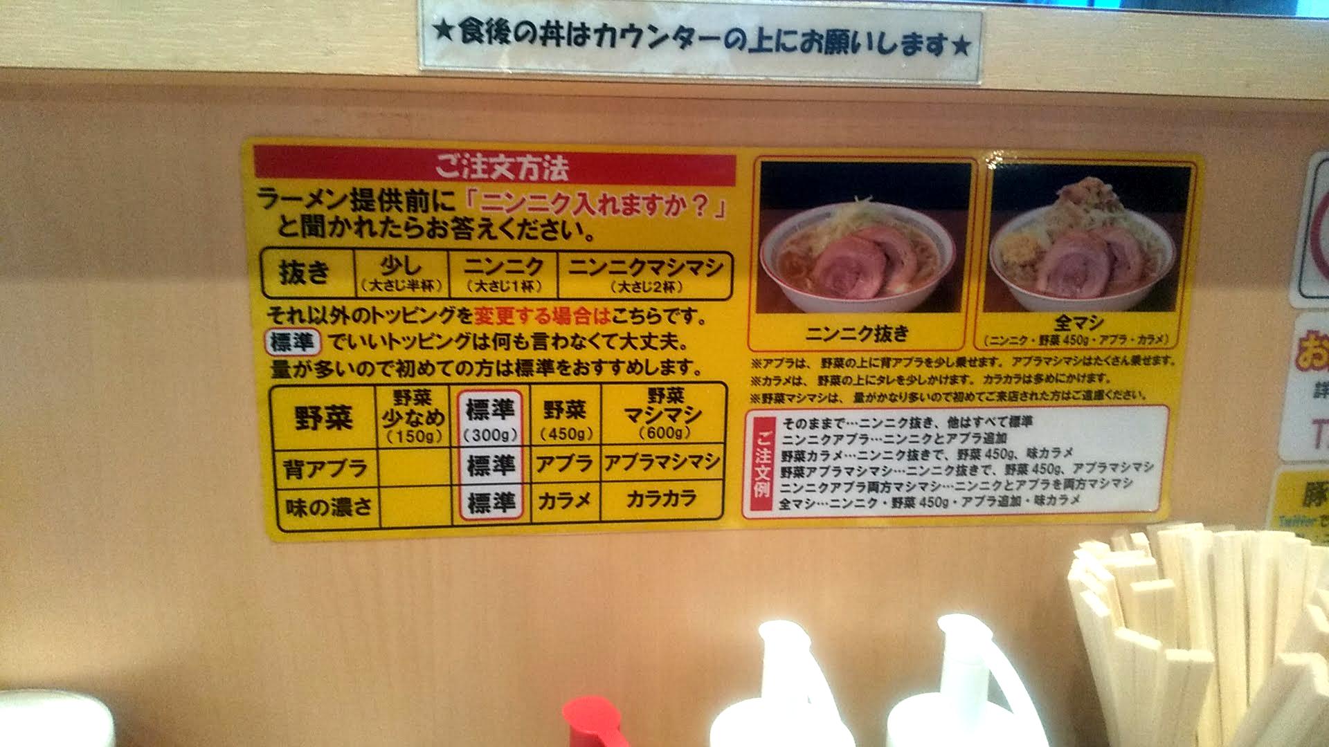 ラーメン豚山の注文方法の写真